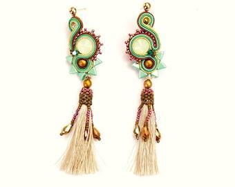 Boho earings - long, soutache earings with tassel, statement earings, turquise earings