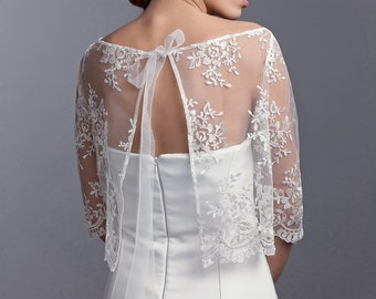 Bridal lace bolero, bridal jacket, lace topper, bridal lace topper, lace jacket, bridal cover up
