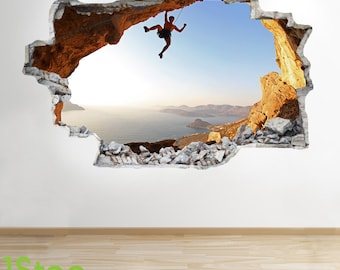 Rock Climbing Wall Sticker 3d Look   Boys Kids Bedroom Extreme Sport Wall  Decal Z127