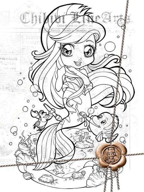 Digital Stamp Ariel verkleidet als Fabius LineArt Disney