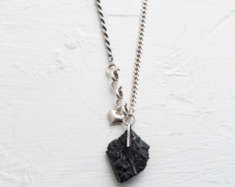 silver chain, black tourmaline, personal cameo, mantra necklace, talisman necklace, heart necklace, rough stone, good energy necklace