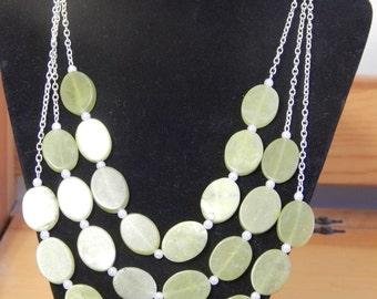 Olive New Jade triple strand necklace