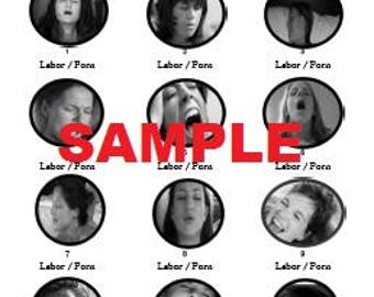 Labor or Porn (Black and White) Baby Shower Game with Answer Key