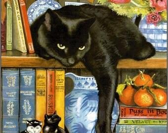 Black Cat Cross Stitch Pattern - Printable Black Cat Cross Stitch - Black Cat Hand Embroidery Pattern - Digital Cat Print - PDF File