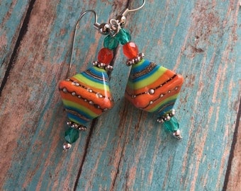 Southwest Earrings Southwestern Earrings, Southwest Jewelry, Dangle & Drop Earrings, Southwestern SRA Lampwork Beads