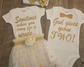 Twin Girls, Twin Boys, Twins, Twin Girl Boy, Coming Home Set or Perfect Baby Shower Gift Set