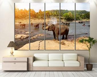 Elephant Wall Art Elephant Canvas Print Elephant Wall Decor Elephant Panel Art Elephant Canvas Art Elephant Home Decor Elephant Canvas Set