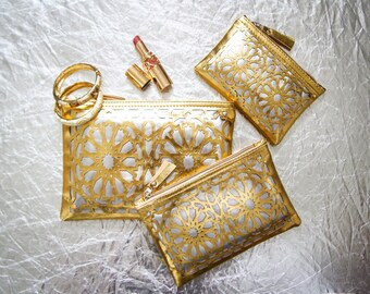 Lot of three pouches - pattern zellige - gold and silver