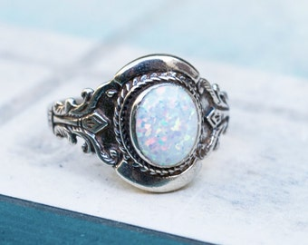 Silver Opal Ring | Opal Silver Ring | White Opal Ring | Boho Ring | October Birthstone | Gift For Her | Opal Jewelry | Vintage Silver Ring