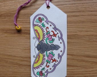 Original double-sided watercolor and pressed flower bookmark with a stylised butterfly