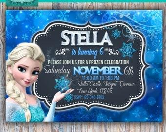 Frozen printable personalized invitation, frozen digital invitation, frozen invite, frozen party, frozen birthday, elsa, anna, frozen card