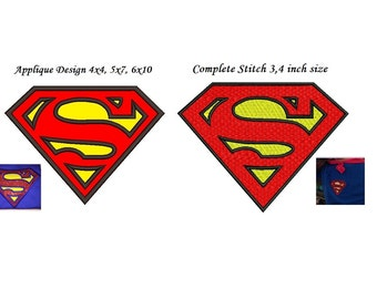 Superman Applique Embroidery Design - 2 designs instant download