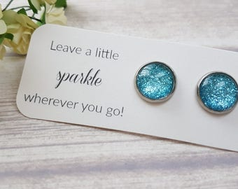 Glitter blue earrings, Blue stud earrings, Something blue for bride, Bridesmaid gift, Blue studs, Sparkly earrings, Glitter earrings blue