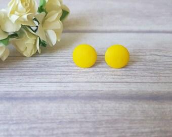 Yellow earrings, Yellow stud earrings, Yellow jewelry, Summer earrings, Simple earrings yellow, Everyday studs, Earrings for sensitive ears