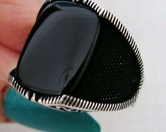 Handmade 925 Sterling Silver Natural Black Agate Stone Men's Ring #M22