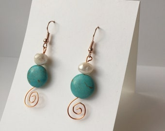 Turquoise & Freshwater Pearl Copper Swirl Earrings / Beach Day / Southwestern Style