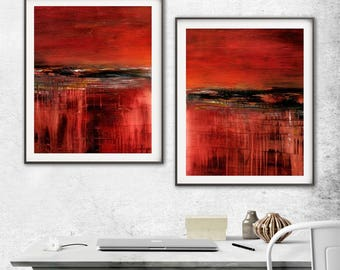 Large Abstract Print Digital Download Set Of Two Printable Art Red Print Modern Red Painting Interior Design Crimson Wall Decor Sky Whitman
