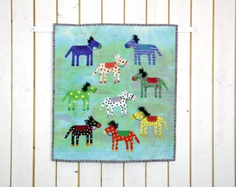 Horse Quilt Patchwork, Horse Wall Hanging, Horse Wall Décor, Horse Baby Quilt, Child's Quilt, Newborn Quilt, Green Red Blue Yellow