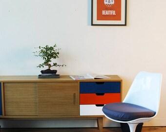 Cushion seated Chair TULIP - fabric grey
