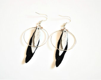 Creoles 3 feathers black, gray and silver leather