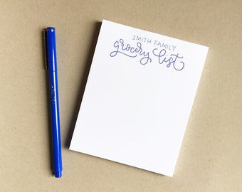 Family Grocery List - Small Notepad - Personalized Stationery - Handwritten Modern Calligraphy - Handmade 4x5 - Customized - Lined