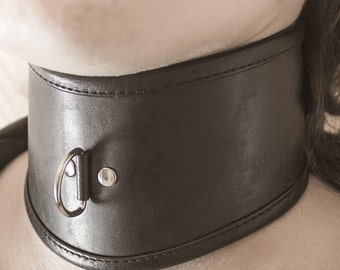 BDSM Posture Collar, Leather Slave Collar, Choker, Leather Bondage and Fetish, Chrome Hardware, Neck Restraint, Wide Collar, Neck Corset