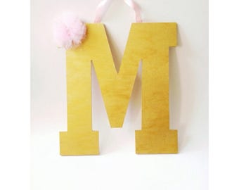 Gold Letter, Painted Letter, Wooden Letter, Gold & Pink Letter, Wall Decor