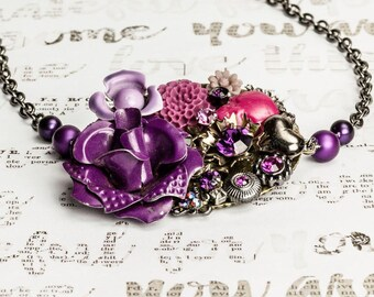 Vintage Purple collage necklace, bib necklace, violet and fuschia, floral necklace, vintage necklace