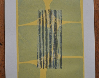 Ploughed Lines -Mid century, fifties inspired abstract screenprint. Modern, original, handmade fine art print, grey, blue, yellow.