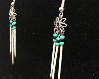 Turquoise and Black Beaded Flower Alaskan Porcupine Quill Earrings