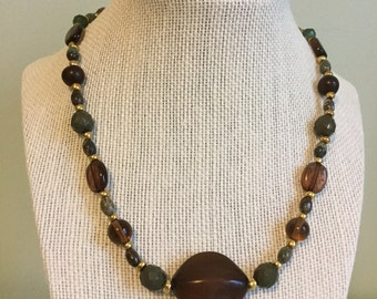 """Upcycled Jewelry """"Moss"""" Beaded Necklace - Made with Vintage/ Recycled Materials"""