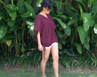 Burgundy Purple Boho Blouse - Loose Fitting Oversized Cotton Blouse - Women Bohemian V Neck Top Casual Wide Kimono Sleeve  - Karen TOP008