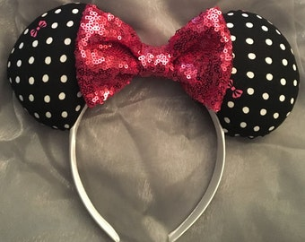 Polka Dots and Bows Minnie Ears! Handmade Sewn & Stuffed- Fits Child to Adult