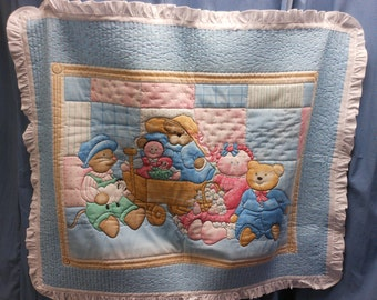 Baby blanket with teddy bears
