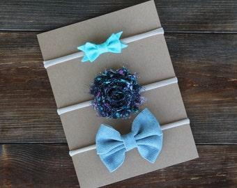 Set of 3 Nylon Baby Headbands-Small Aqua Felt Bow/Navy Floral Shabby Flower/Denim Bow