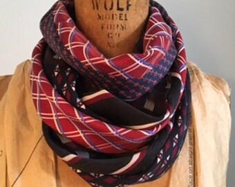 Reclaimed Necktie Silk Cowl Stack