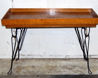 Antique 1900s Quarter Sawn Oak General Store Display Table, Twisted Metal Legs