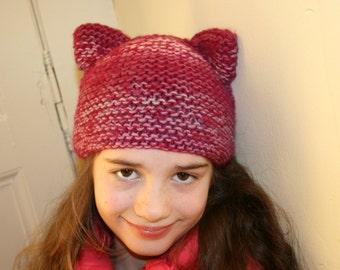 Cat ears Beanie, pink, baby girl