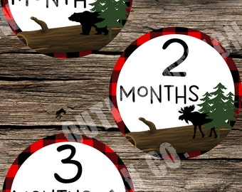 Baby Boy Monthly Milestone Markers Printable Instant Download Bear Hunting Moose Elk Rustic Cabin Rugged Adventure Woodland Outdoor Explorer