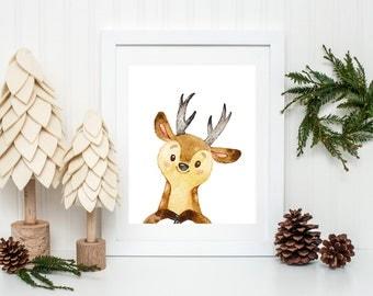 Deer Printable Cute Animal Nursery Woodland Nursery Print Woodland Decor Forest Nursery Watercolor Deer Print Deer Wall Art Animal Print