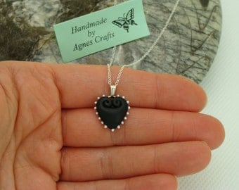 Custom colour sterling silver necklace, heart pendant necklace, sterling silver chain necklace, Valentines Day gift for her, made to order