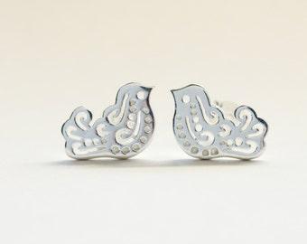 Love bird stud earrings made in Sterling silver. Earrings, studs, bird earrings.