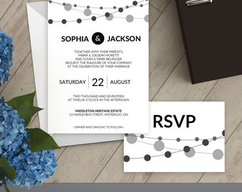 Modern Wedding Invitation Set, Printable Wedding Invite, Editable Template, RSVP, Details Card, Thank You Card, Instant Download, PDF #0006A
