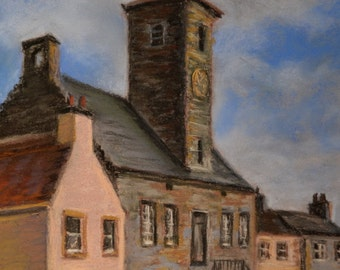 SCOTLAND Culross Village CLOCK TOWER Landscape in Original 11.5 x 8.5 Pastel Painting by Sharon Weiss