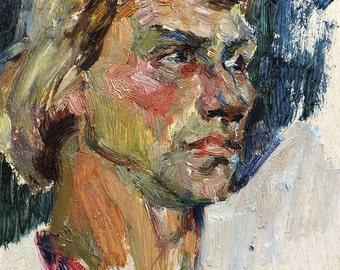Sale 50%! VINTAGE MALE PORTRAIT, Original Oil Painting by Soviet artist L.Zakharova, 1974, Man's Portrait, Socialist Realism, Ukrainian art
