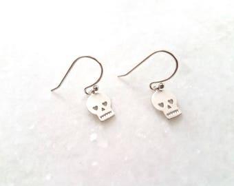 Skull Earrings, Tiny Skull Pendent Earrings, Everyday Earrings