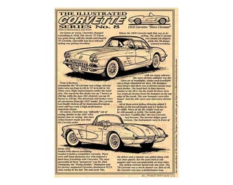 1958 C1 Corvette Art Print,Man Cave Decor,Scott Teeters,Nostalgic Corvette,1958 Corvette Print,Americas Sports Car,1958 Production Corvette
