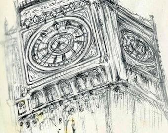 Vintage Look Big Ben pluma dibujo imprimir