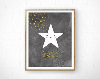 Twinkle Twinkle Little Star, Nursery Prints, Printable Art, Scandinavian Style, Baby Gift, Nursery Wall Art, Grey, Minimal Poster, Star