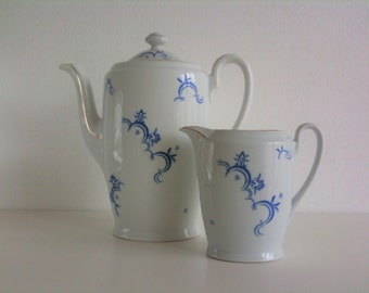 Duo coffee pot and creamer, blue and white porcelain, Seltmann Weiden, vintage mid century
